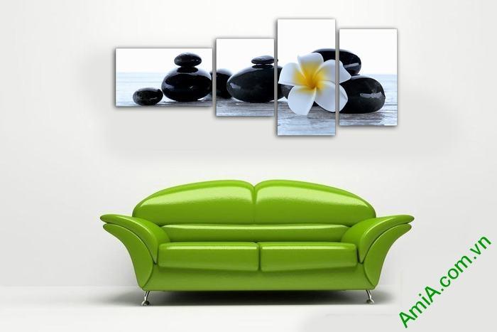Tranh trang trí phòng khách, spa hoa sứ đá Amia 554-01