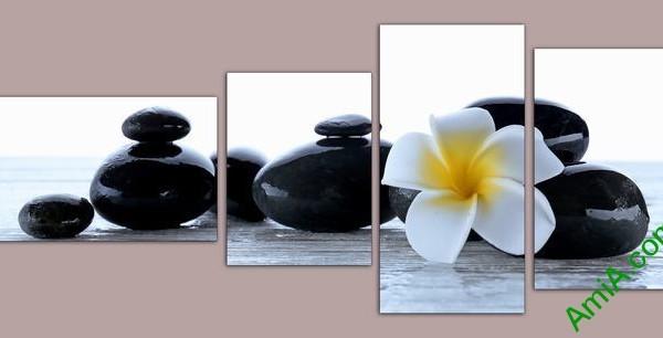 Tranh trang trí phòng khách, spa hoa sứ đá Amia 554