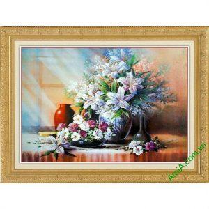 Tranh trang trí phòng khách tĩnh vật bình hoa ly Amia 565-00