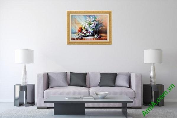 Tranh trang trí phòng khách tĩnh vật bình hoa ly Amia 565-01