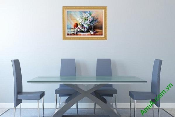 Tranh trang trí phòng khách tĩnh vật bình hoa ly Amia 565-02