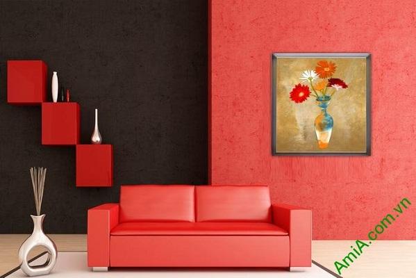 Tranh trang trí tĩnh vật bình hoa đồng tiền Amia 569-02