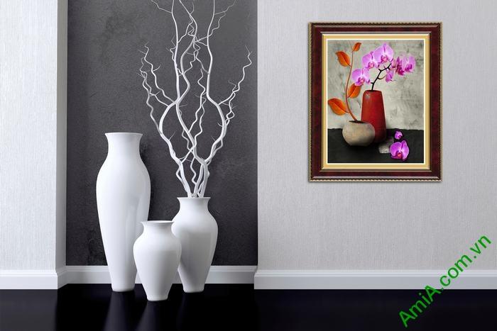 Tranh trang trí tĩnh vật bình hoa lan hồ điệp tím Amia 507-01