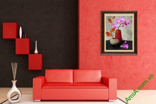 Tranh trang trí tĩnh vật bình hoa lan hồ điệp tím Amia 507-02