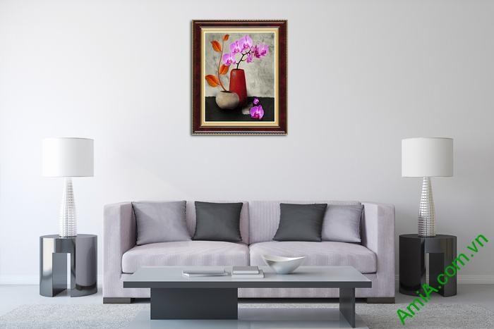 Tranh trang trí tĩnh vật bình hoa lan hồ điệp tím Amia 507-03