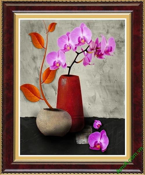 Hinh anh mau tranh trang tri noi that phong khach hoa lan ho diep