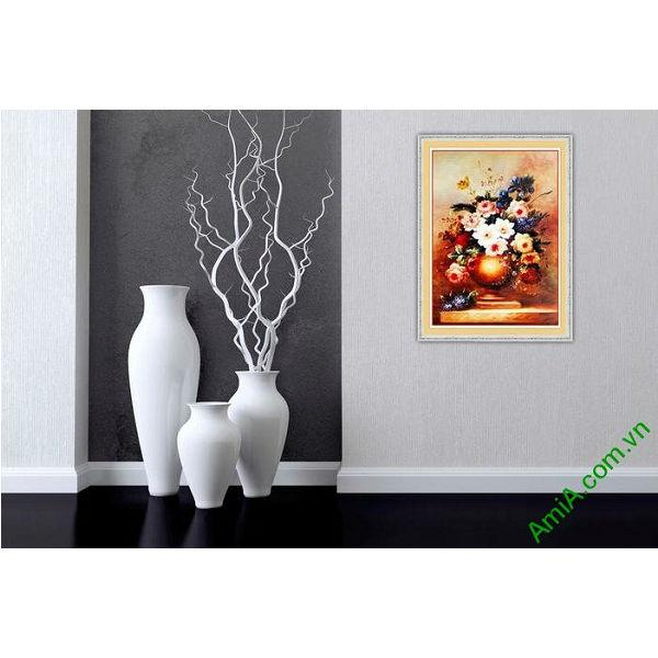 Tranh trang trí tĩnh vật bình hoa nghệ thuật Amia 571-00
