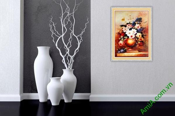 Tranh trang trí tĩnh vật bình hoa nghệ thuật Amia 571-01