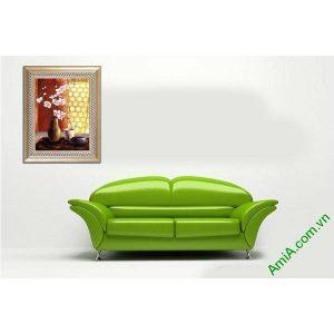Tranh trang trí tĩnh vật in giả sơn dầu bình hoa lan Amia 517-00