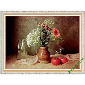 Tranh trang trí tĩnh vật nghệ thuật bình hoa cúc AmiA 584-00