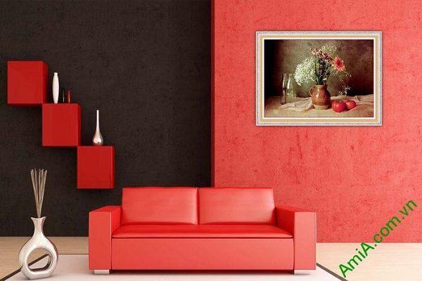 Tranh trang trí tĩnh vật nghệ thuật bình hoa cúc AmiA 584-01