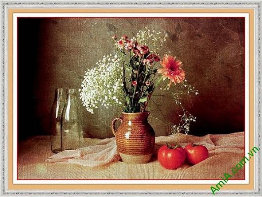 Tranh trang trí tĩnh vật nghệ thuật bình hoa cúc AmiA 584