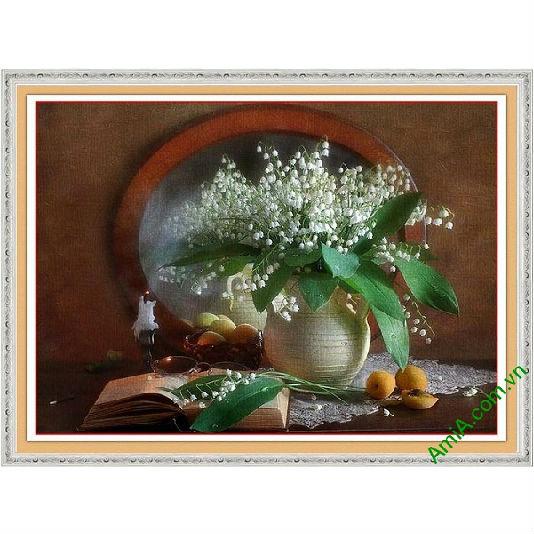 Tranh trang trí tĩnh vật nghệ thuật sắp xếp bình hoa chuông-00