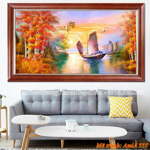 Tranh thuyền mùa thu Amia 555 treo tường phòng khách