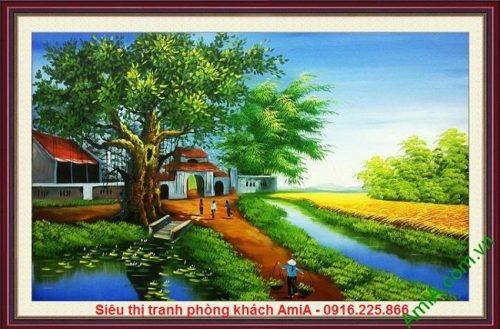 Tranh phong cảnh làng quê nông thôn Việt Nam