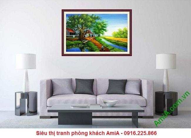 Tranh phong cảnh làng quê Việt Nam trang trí phòng khách