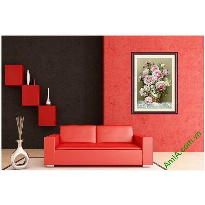 Hình ảnh mẫu thiết kế tranh trang trí nghệ thuật một tấm bình hoa mẫu đơn