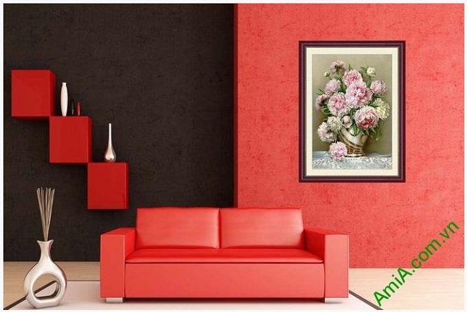 Tranh nghệ thuật trang trí hoa mẫu đơn cho phòng khách tinh tế, sang trọng