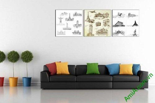 Bộ tranh trang trí kỳ quan thế giới thiết kế vintage AmiA 694-01