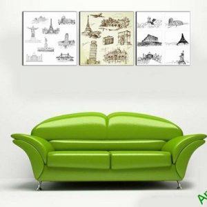 Bộ tranh trang trí kỳ quan thế giới thiết kế vintage AmiA 694-02