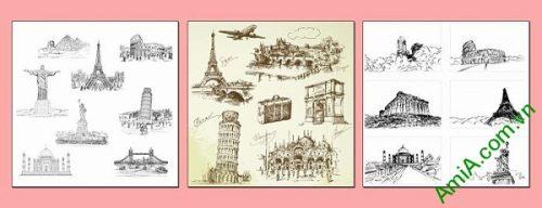 Bộ tranh trang trí kỳ quan thế giới thiết kế vintage AmiA 694