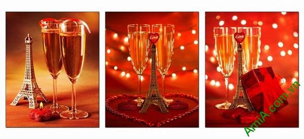 Bộ tranh trang trí phòng khách tháp Eiffel tình yêu AmiA 695