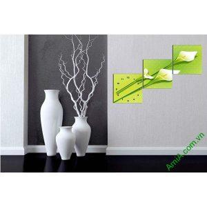 Đồng hồ tranh trang trí hiện đại hoa Zum trắng AmiA 595-00