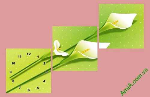 Đồng hồ tranh trang trí hiện đại hoa Zum trắng AmiA 595