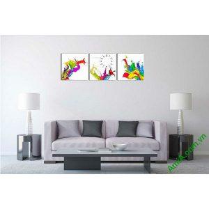 Đồng hồ tranh treo tường màu sắc phá cách nghệ thuật-00
