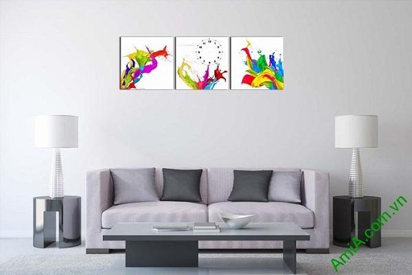 Đồng hồ tranh treo tường màu sắc phá cách nghệ thuật-01