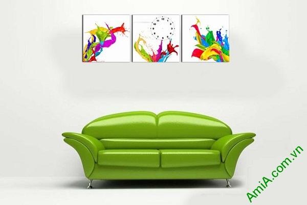 Đồng hồ tranh treo tường màu sắc phá cách nghệ thuật-02