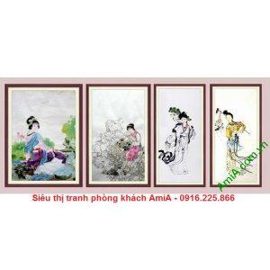 Hình ảnh Bộ tranh ghép trang trí phòng khách hiện đại tiên nữ