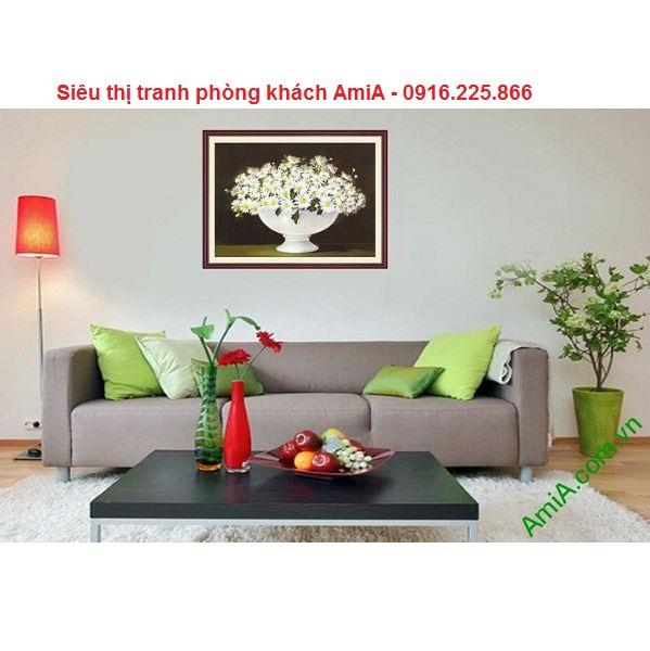 Hình ảnh tranh hoa cúc họa mi trang trí phòng khách