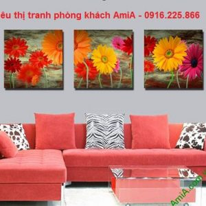 Hình ảnh tranh hoa ghép bộ phòng khách hiện đại