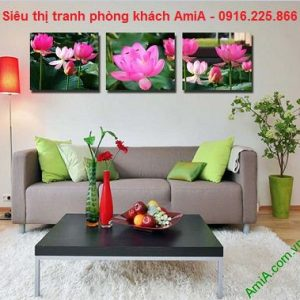 Hình ảnh tranh hoa sen ghép bộ treo phòng khách