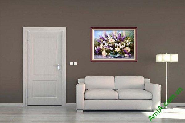 Tranh bình hoa nghệ thuật trang trí phòng khách sang trọng-01