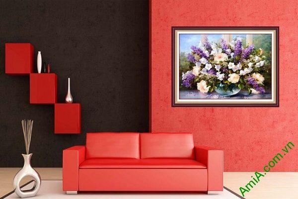 Tranh bình hoa nghệ thuật trang trí phòng khách sang trọng-02
