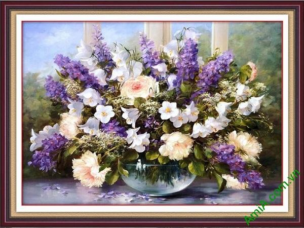 Tranh bình hoa nghệ thuật trang trí phòng khách sang trọng
