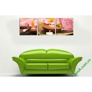Tranh ghép bộ khổ lớn trang trí spa nến khăn hồng AmiA 667-00