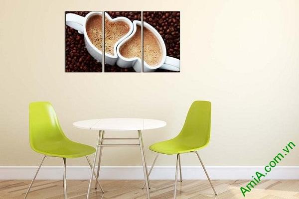 Tranh ghép bộ trang trí phòng khách tách cafe tình yêu-02