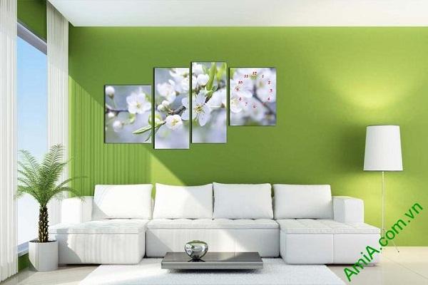 Tranh ghép đồng hồ hoa lê trắng trang trí phòng khách-01