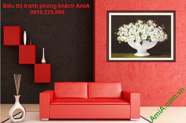 Tranh hoa cúc trang trí phòng khách