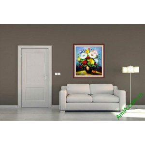 Tranh hoa in giả sơn dầu trang trí phòng khách nghệ thuật-00