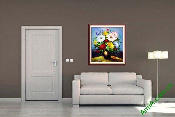 Tranh hoa in giả sơn dầu trang trí phòng khách nghệ thuật-01
