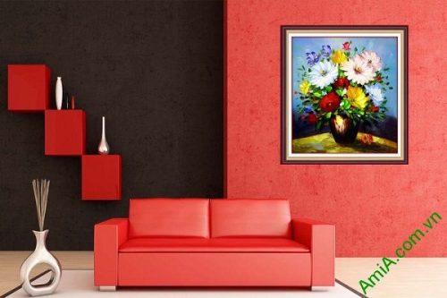 Tranh hoa in giả sơn dầu trang trí phòng khách nghệ thuật-02