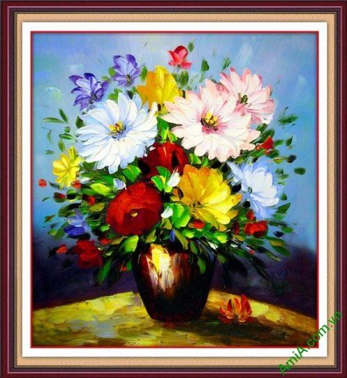 Tranh hoa in giả sơn dầu trang trí phòng khách nghệ thuật