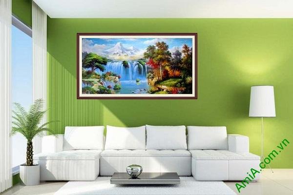 Tranh nghệ thuật in giả sơn dầu phong cảnh hữu tình-02
