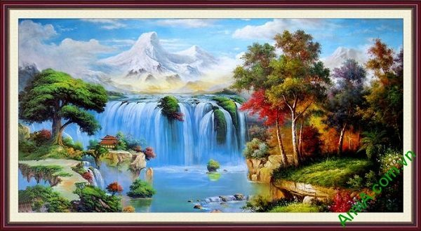 Tranh nghệ thuật in giả sơn dầu phong cảnh hữu tình