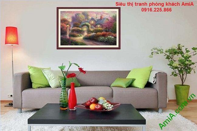 Tranh nghệ thuật ngôi nhà châu âu làm đẹp phòng khách