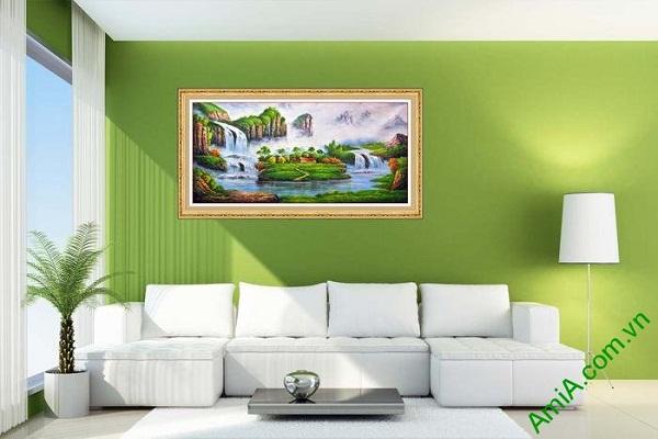 Tranh nghệ thuật trang trí phòng khách sơn thủy hữu tình-01